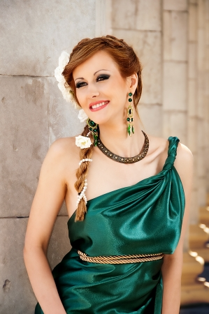 Antiquity  Portrait of attractive beautiful girl in the image of photo