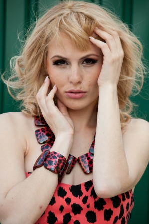 A large portrait of a beautiful blonde girl in a leopard dress photo