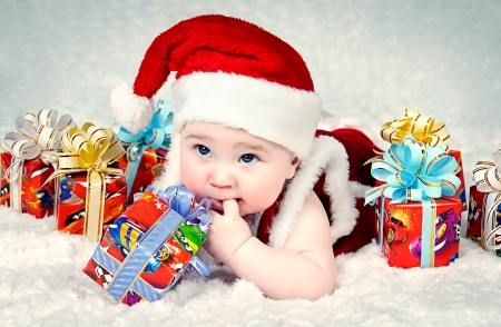 Cute little santa baby with New year s  gifts Stock Photo - 15949251