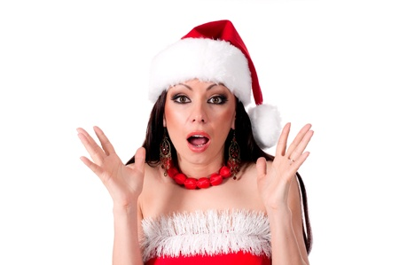 Beautiful brunette Santa Girl  expresses surprise photo