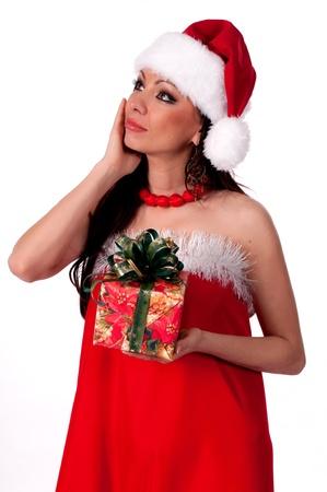 Beautiful brunette Santa Girl  guesses  gift Stock Photo - 17014697