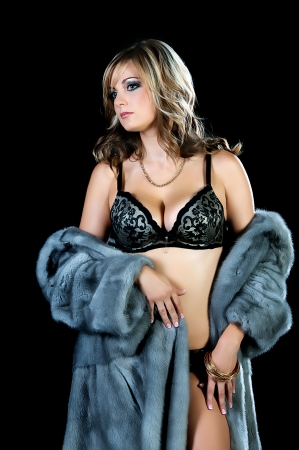 Woman in lingerie and fur coat. The world of fashion, winter. photo