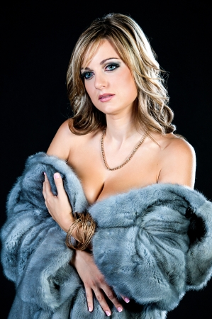 Beautiful Woman in Luxury Fur Coat. Fur Fashion. photo