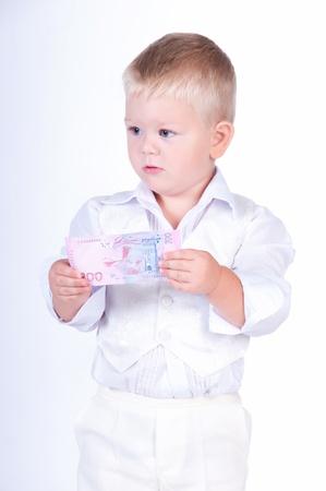 little business man: Poco hombre de negocios con el dinero