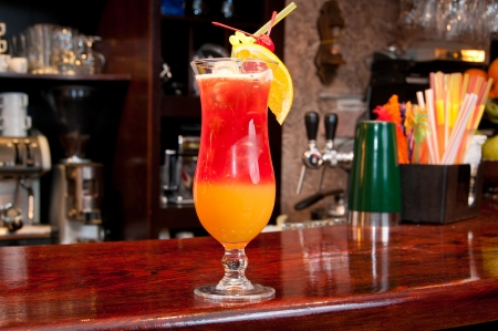 Tequila Sunrise cocktail at the bar