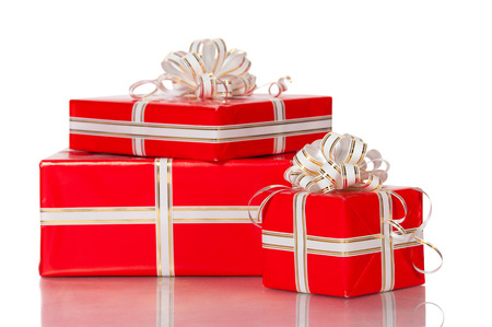 wrap wrapped: Wrapped gifts with a bow on a white background.