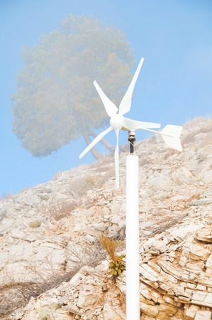 powerstation: Wind powerstation - alternative energy source Stock Photo