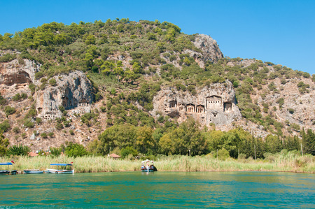 Turkish  Lycian tombs on the Dalyan River photo