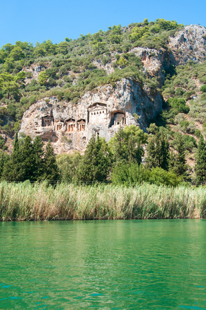 Lycian tombs on the Dalyan River in Turkey photo
