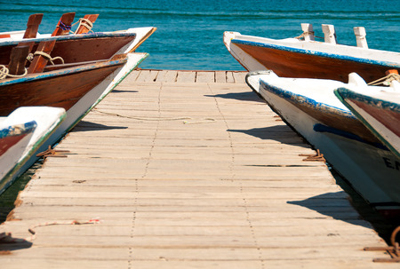 landing stage: Boat dock, wooden landing stage. Stock Photo
