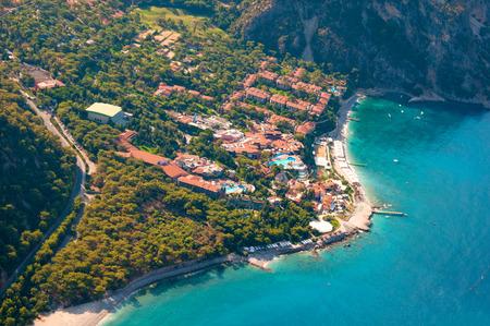 fethiye: View from parachute on hotel Fethiye, Turkey.