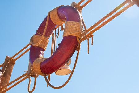 Lifebuoy  and rope ladder, marine decor