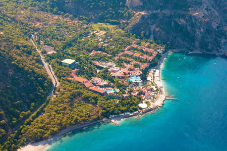View from parachute on hotel Fethiye, Turkey. photo