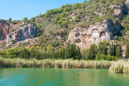 Turkish  Lycian tombs on the Dalyan River photo