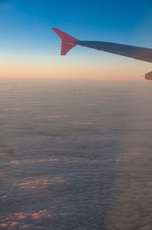 Sky and plane wing photo