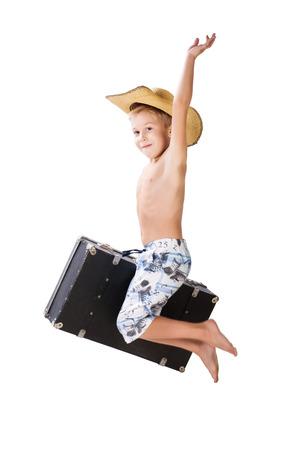 hooray: Happy traveler boy jump. Hooray! Vacation!