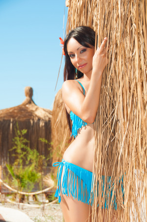 Sexy brown haired girl in a bikini near  thatched bungalow photo