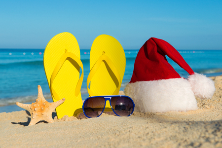 Funny New Year holidays at the sea. Christmas Travel in tropical countries