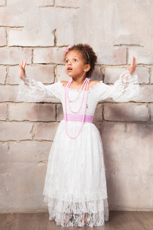 actress: Beautiful african  girl as a little actress. Theatre, acting skills