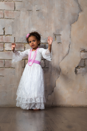 actress girl: Beautiful african  girl as a little actress. Theatre, acting skills