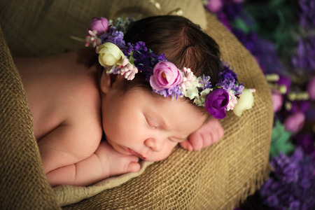 Sweet dreams of newborn baby. Beautiful little girl with lilac flowers Stock Photo