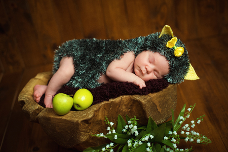 sweetly: Funny newborn little baby girl in a costume of hedgehog sleeping sweetly on the stump