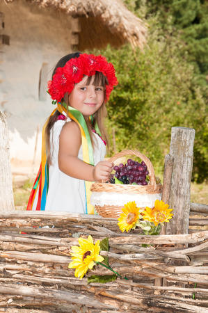 ukrainian ethnicity: Ukrainian girl in a wreath of red flowers and satin ribbons with a basket of apples near the wicker fence