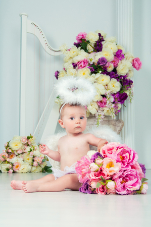 arpa: Little angel smiling and happy sitting on the background of flowers and harp