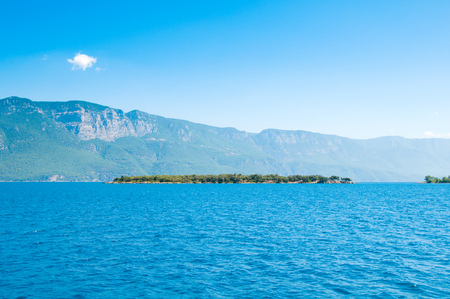 blue waters: Landscape of the Mediterranean Sea. Mountains and the sea of Turkey.