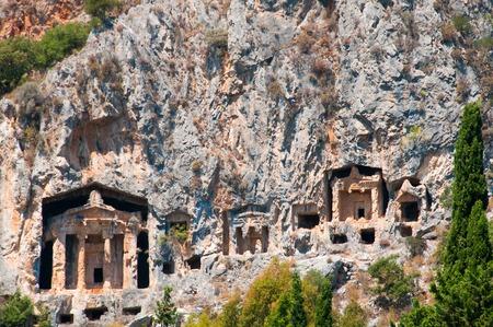 mugla: Famous Lycian Tombs of ancient Caunos city, Dalyan, Turkey