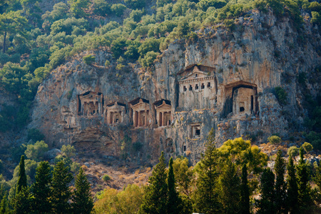 Famous Lycian Tombs of ancient Caunos city, Dalyan, Turkey