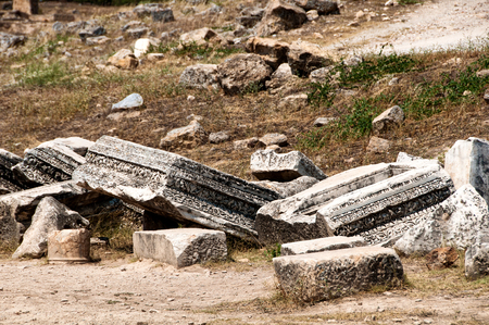 antiquity: Ruins and old buildings in Hierapolis ancient city adjacent to modern Pamukkale in Turkey