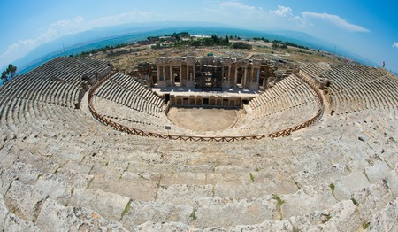 Roman Theater in Pamukkale, the ancient city of Hierapolis Turkey, Stock Photo
