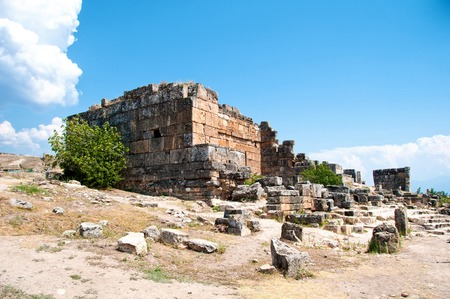 archaeological: Ruins and old buildings in Hierapolis ancient city adjacent to modern Pamukkale in Turkey.