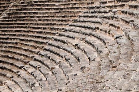 archaeological: Roman Theater in Pamukkale, the ancient city of Hierapolis Turkey, Stock Photo