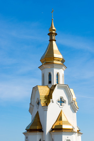 rebuilt: Golden domes of the church against the sky Stock Photo