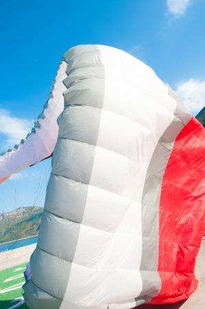 paraglider: Paraglider flies paraglider in the sky. Paragliding.