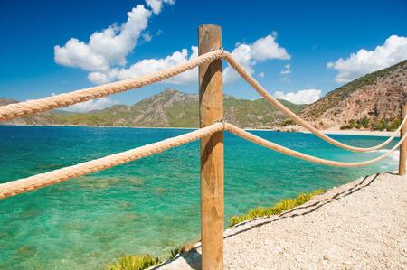 banister railing on marine rope and wood Moraira Mediterranean sea Archivio Fotografico