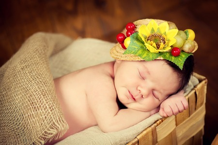 fairly: A fairly newborn child in a wreath of cones and berries lies on a stump and sleeps.