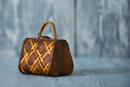Vintage bag brown on the background of gray boards Stock Photo