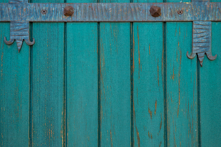 Green color old wooden doors with a forged metal. Stock Photo