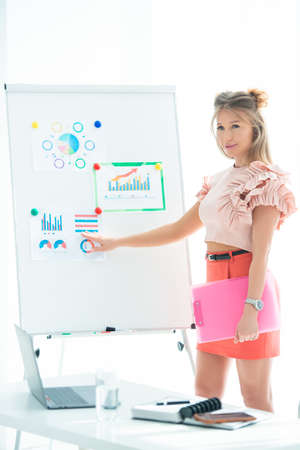 Women's business, conference and revenue planning. Girl businesswoman in office near flipchart shows graphs of sales growth and corporate profits.