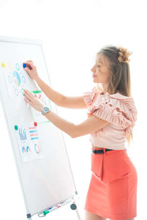 Women's business, conference and revenue planning. Girl businesswoman in office near flipchart shows graphs of sales growth and corporate profits. Stock Photo - 152792123
