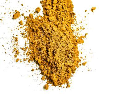 Yellow powder, Turmeric (Curcuma) powder isolated on white background