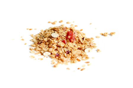 Muesli, granola healthy meal with dry raisin, nut, fruit, almond and cereal flake