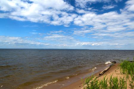vast: great russian river Volga vast spaces in summer sunny day