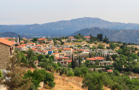 Picturesque view of Lefkara village with mountains at the background, Cyprus photo