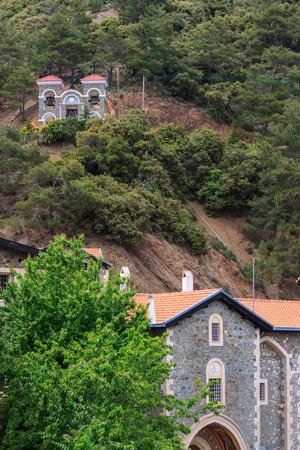 PEDOULAS, CYPRUS, GREECE - MAY 08, 2013 Kykkos Monastery bell tower near Pedoulas in Cyprus