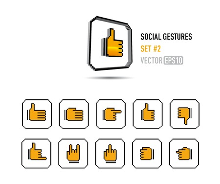 a set of social buttons showing different gestures Vector