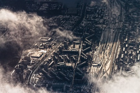 Winter uusual aerial cityscape of Moscow district photo
